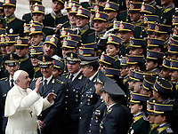 Papa Francesco saluta cadetti ed ufficiali della Guardia di Finanza Italiana al termine dell'Udienza Generale del mercoledi' in aula Paolo VI in Vaticano, 10 gennaio 2018.<br /> Pope Frances greets Italian Finance Police Cadets and officers at the end of his weekly general audience in Paul VI Hall at the Vatican, on January 10, 2018.<br /> UPDATE IMAGES PRESS/Isabella Bonotto<br /> <br /> STRICTLY ONLY FOR EDITORIAL USE
