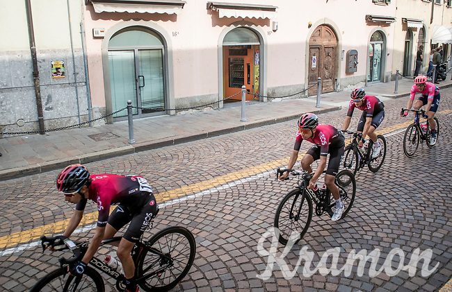Team Ineos escorting team leader Egan Bernal (COL/Ineos) through town<br /> <br /> 113th Il Lombardia 2019 (1.UWT)<br /> 1 day race from Bergamo to Como (ITA/243km)<br /> <br /> ©kramon