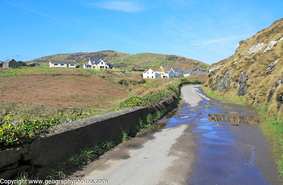 South Harbour road and houses, Cape Clear Island, County Cork, Ireland, Irish Republic