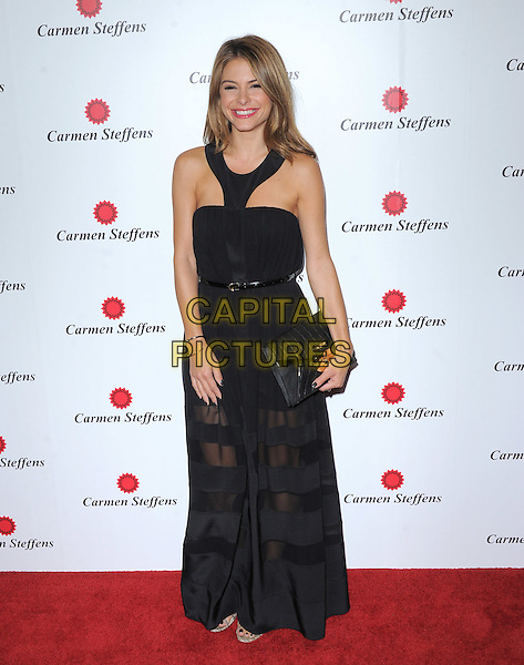 Maria Menounos.The grand opening of luxury Brazilian brand Carmen Steffens' U.S. Flagship store in Hollywood, California, USA..August 2nd, 2012 .full length black dress clutch bag sheer striped stripes belt.CAP/RKE/DVS.©DVS/RockinExposures/Capital Pictures.
