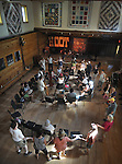 "Caprice Rouge and others enjoying a ""Balkan Session (with dancing) in the Performance Hall venue, on the third-and-final day of the 4th Annual Summer Hoot Festival, held at the Ashokan Center in Olivebridge, NY, on Sunday, August 28, 2016. Photo by Jim Peppler; Copyright Jim Peppler 2016."