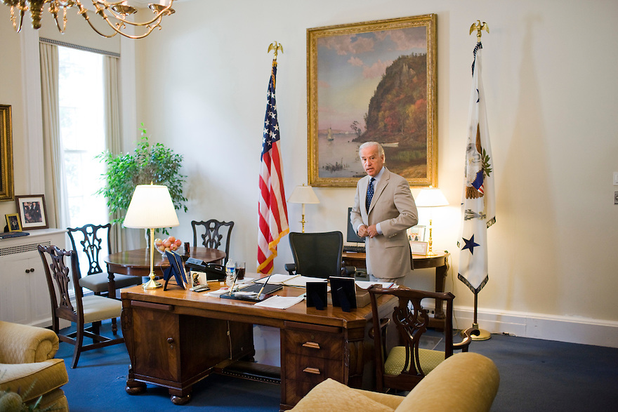 Vice President Joe Biden in his West Wing office at the White House in Washington..Photo by Brooks Kraft/Corbis............