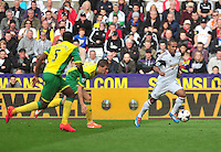 Swansea v Norwich, Liberty Stadium, Saturday 29th march 2014...<br /> <br /> <br /> <br /> Swansea's Wayne Routledge on the ball.