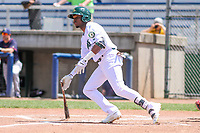 Beloit Snappers outfielder Lester Madden (14) swings at a pitch during a Midwest League game against the Cedar Rapids Kernels on June 2, 2019 at Pohlman Field in Beloit, Wisconsin. Beloit defeated Cedar Rapids 6-1. (Brad Krause/Four Seam Images)