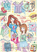 Interlitho, TEENAGERS, paintings+++++,2 girls,shopping,KL4434,#J# Jugendliche, jóvenes, illustrations, pinturas ,everyday