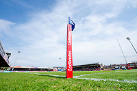 Picture by Allan McKenzie/SWpix.com - 22/04/2018 - Rugby League - Ladbrokes Challenge Cup - York City Knight v Catalans Dragons - Bootham Crescent, York, England - Ladbrokes, branding, corner flag.