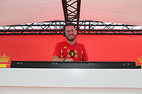 20190829 - LEUVEN , BELGIUM : Belgian DJ is pictured at the fan village at the beginning of the female soccer game between the Belgian Red Flames and England , The Lionesses , a friendly womensoccer game in the preparation for the European Championship qualification round in group H for England 2021, Tuesday 29 th August 2019 at the King Power Stadion Den Dreef in Leuven , Belgium. PHOTO SPORTPIX.BE | SEVIL OKTEM
