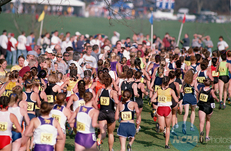 17 NOV 2001:    Runners in action during the Women's Division 3 Cross Country Championship hosted by Augustana College and held at the Highland Springs Golf Course in Rock Island, IL.   Dana Boyle of the Univ of Puget Sound won the race in a time of 16:46. The team title was won by Middlebury College.© John Schultz / NCAA Photos