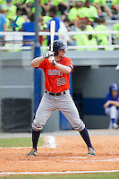 Connor Goedert (20) of the Greeneville Astros at bat against the Kingsport Mets at Hunter Wright Stadium on July 7, 2015 in Kingsport, Tennessee.  The Mets defeated the Astros 6-4. (Brian Westerholt/Four Seam Images)