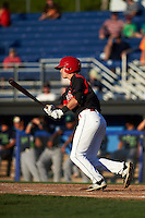 Batavia Muckdogs outfielder Brandon Rawe (22) at bat during a game against the Vermont Lake Monsters August 9, 2015 at Dwyer Stadium in Batavia, New York.  Vermont defeated Batavia 11-5.  (Mike Janes/Four Seam Images)