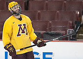 Nate Condon (MN - 16) - The University of Minnesota Golden Gophers practiced on Wednesday, April 9, 2014, at the Wells Fargo Center in Philadelphia, Pennsylvania during the 2014 Frozen Four.
