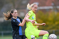20191123 – BRUGGE, BELGIUM : Brugge's  Raquel Viaene (left) pictured in a duel with Gent's Nina Stapelfeldt during a women soccer game between Dames Club Brugge and K AA Gent Ladies on the ninth matchday of the Belgian Superleague season 2019-2020 , the Belgian women's football  top division , saturday 23 th November 2019 at the Jan Breydelstadium – terrain 4  in Brugge  , Belgium  .  PHOTO SPORTPIX.BE | DAVID CATRY