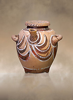 Luxury Minoan Kamares Ware pot with spout and lid with polychrome decorations , Phaistos 1900-1700 BC; Heraklion Archaeological  Museum.<br /> <br /> This style of pottery is named afetr Kamares cave where this style of pottery was first found