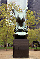 AJ3493, New York City, Battery Park, Manhattan, New York, NYC, N.Y.C., East Coast War Memorial statue of eagle at Battery Park in Lower Manhattan in New York City in the state of New York.