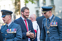 Picture by Allan McKenzie/SWpix.com - 25/08/2017 - Rugby League - Commemorative wreath laying ceremony - The Cenotaph, London, England - Wigan captain Sean O'Loughlin shares a joke with the RFL President Air Commodore Dean Andrew.
