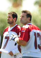 Jun 9, 2008; Tempe, AZ, USA; Arizona Cardinals quarterback (7) Matt Leinart looks on as Kurt Warner drops back to pass during mini camp at the Cardinals practice facility. Mandatory Credit: Mark J. Rebilas-