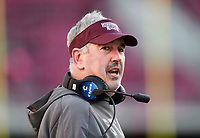 NWA Democrat-Gazette/CHARLIE KAIJO Mississippi State head coach Joe Moorhead reacts, Saturday, November 2, 2019 during the third quarter of a football game at Donald W. Reynolds Razorback Stadium in Fayetteville. Visit nwadg.com/photos to see more photographs from the game.