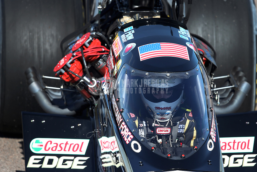Feb. 24, 2013; Chandler, AZ, USA; NHRA top fuel dragster driver Brittany Force during the Arizona Nationals at Firebird International Raceway. Mandatory Credit: Mark J. Rebilas-