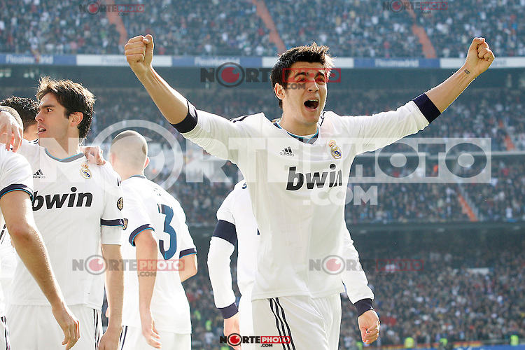 Real Madrid's Alvaro Morata celebrates with his partners during La Liga match.March 02,2013. (ALTERPHOTOS/Acero) /NortePhoto