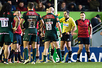Referee Mathieu Raynal shows Dan Cole of Leicester Tigers a yellow card in the first half. European Rugby Champions Cup match, between Leicester Tigers and Munster Rugby on December 17, 2017 at Welford Road in Leicester, England. Photo by: Patrick Khachfe / JMP