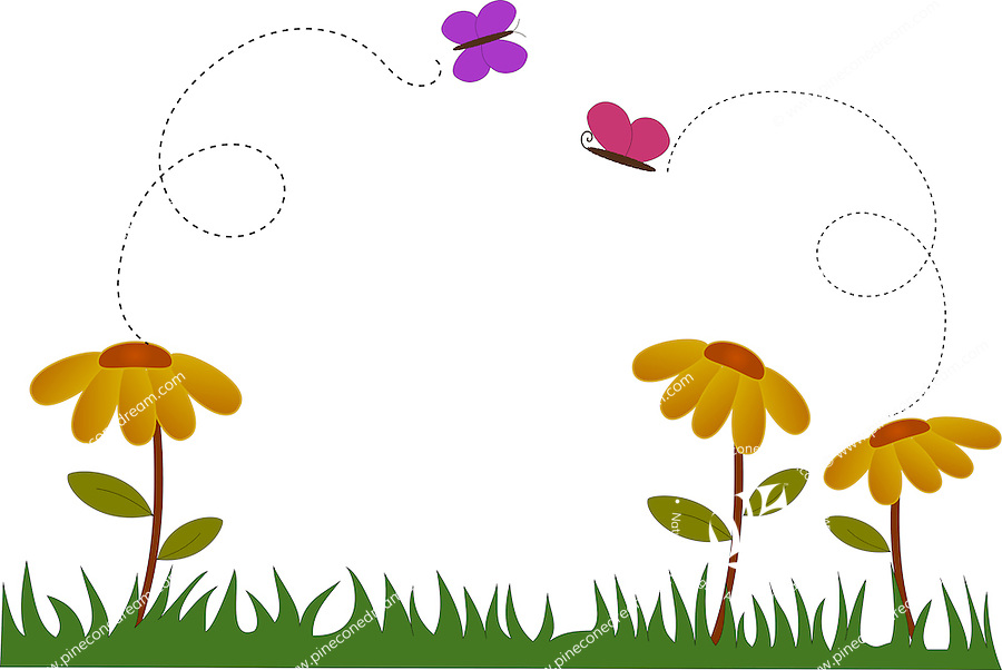 Cute illustration of flowers and butterfly in garden during spring. <br />