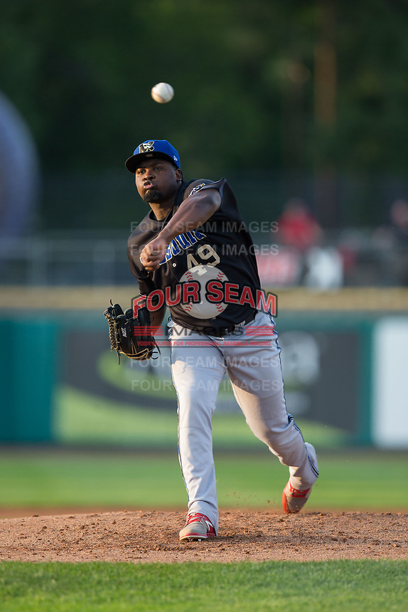 Missoula Osprey starting pitcher Cesilio Pimentel (49) delivers a pitch to the plate against the Billings Mustangs at Dehler Park on August 21, 2017 in Billings, Montana.  The Osprey defeated the Mustangs 10-4.  (Brian Westerholt/Four Seam Images)