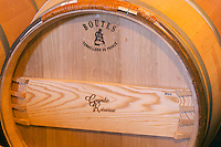 A barrel -  Boutes - Tonnellerie de France. The barrel maker cooper has burnt his brand on the side of the barrel - Chateau La Grave Figeac, Saint Emilion, Bordeaux