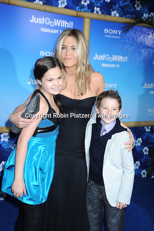 "Bailee Madison, Jennifer Aniston and Griffin Gluck attending the Special New York Screening of "" Just Go With It"" on February 8, 2011 at The Ziegfeld Theatre in New York City."