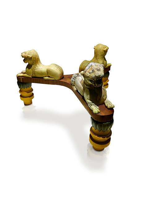 Phrygian table base support decorated with ivory roaring lion statuettes. From Gordion. Phrygian Collection, 8th-7th century BC -  Museum of Anatolian Civilisations Ankara, Turkey.. Turkey. Against a white background
