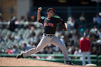 San Jose Giants relief pitcher Trevor Horn (48) during a California League game against the Stockton Ports on April 9, 2019 in Stockton, California. San Jose defeated Stockton 4-3. (Zachary Lucy/Four Seam Images)