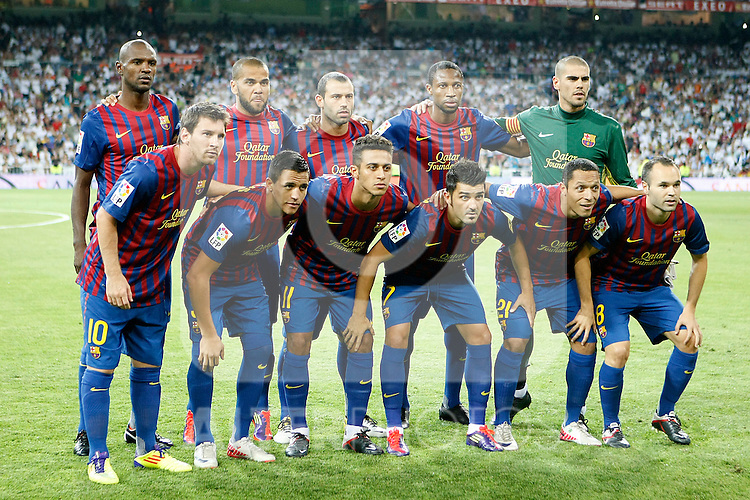 FC Barcelona's team photo with Eric Abidal, Daniel Alves, Javier Mascherano, Seydou Keita, Victor Valdes, Leo Messi, Alexis Sanchez, Thiago Alcantara, David Villa, Adriano Correia and Andres Iniesta during Spanish Supercup 1st match.August 14,2011. (ALTERPHOTOS/Acero)