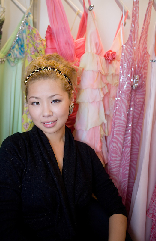 Chinese fahsion designer Ye Mingzi (also called Wendy Yip) with some of her creations in Beijing. Ye is the granddaughter of Ye Jianying , a Communist Party leader in the 1970's. To match story by Richard Spencer. Photo by Natalie Behring