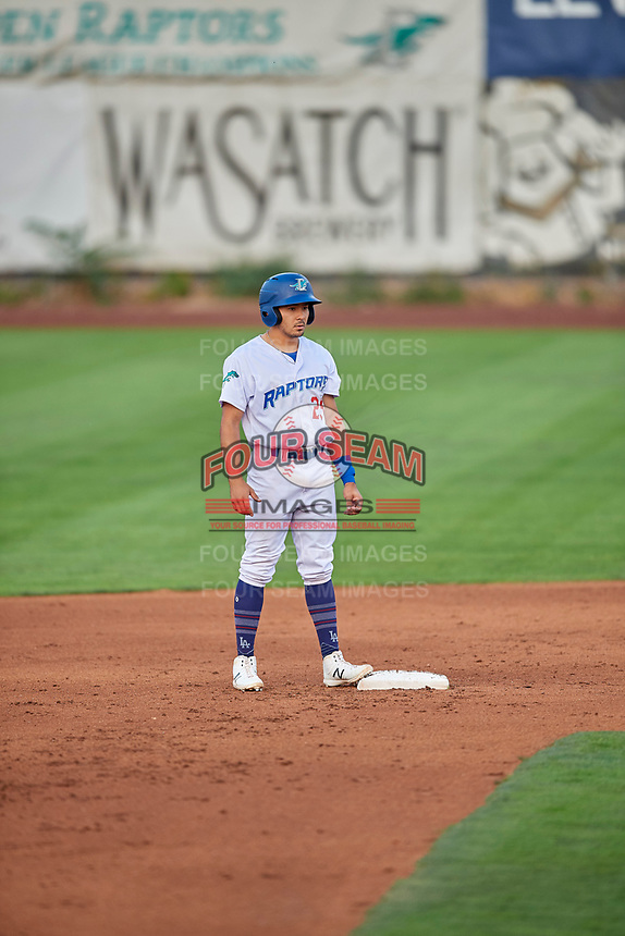 Zac Ching (25) of the Ogden Raptors stands at second base during the game against the Grand Junction Rockies at Lindquist Field on September 9, 2019 in Ogden, Utah. The Raptors defeated the Rockies 6-5. (Stephen Smith/Four Seam Images)