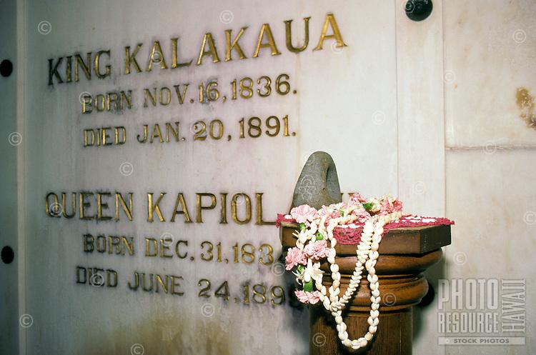 Inside the crypt at Mauna Ala, the Royal Mausoleum of Hawaii, the final resting place of the Kamehameha Dynasty and the Kalakaua Dynasty, Nuuanu, Honolulu