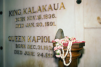 Inside the crypt at Mauna Ala, the Royal Mausoleum of Hawaii, the final resting place of the Kamehameha Dynasty and the Kalakaua Dynasty, Nuuanu, Honolulu