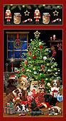 GIORDANO, CHRISTMAS ANIMALS, WEIHNACHTEN TIERE, NAVIDAD ANIMALES, paintings+++++Fireside Pups Panel,USGIPROV19,#xa#