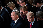 WASHINGTON, DC - DECEMBER 3 : Sen. James Lankford, R-Okla., bows his head during a prayer Fduring a ceremony for former president George H.W. Bush as he lies in State at the U.S. Capitol Rotunda on Capitol Hill on Monday, Dec. 03, 2018 in Washington, DC. (Photo by Jabin Botsford/Pool)