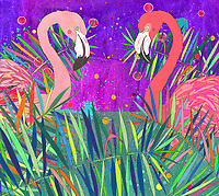Two flamingos looking at each other in brightly coloured leaves