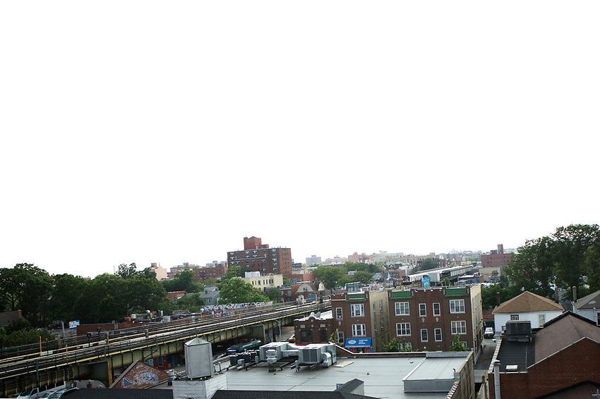 Queens, NY - July 10, 2017: A rooftop view of  Jackson Heights.<br />