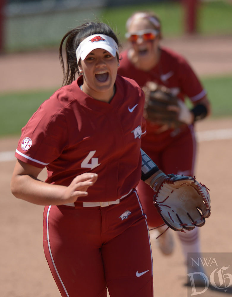 NWA Democrat-Gazette/ANDY SHUPE<br />Arkansas starter Mary Haff (left) and third baseman Autumn Buczek celebrate the final out Saturday, May 19, 2018, during the seventh inning against Wichita State at Bogle Park during the NCAA Fayetteville Softball Regional on the university campus in Fayetteville. Visit nwadg.com/photos to see more photographs from the game.