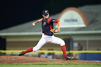 Batavia Muckdogs relief pitcher Josh Alberius (15) delivers a pitch during a game against the Lowell Spinners on July 12, 2017 at Dwyer Stadium in Batavia, New York.  Batavia defeated Lowell 7-2.  (Mike Janes/Four Seam Images)