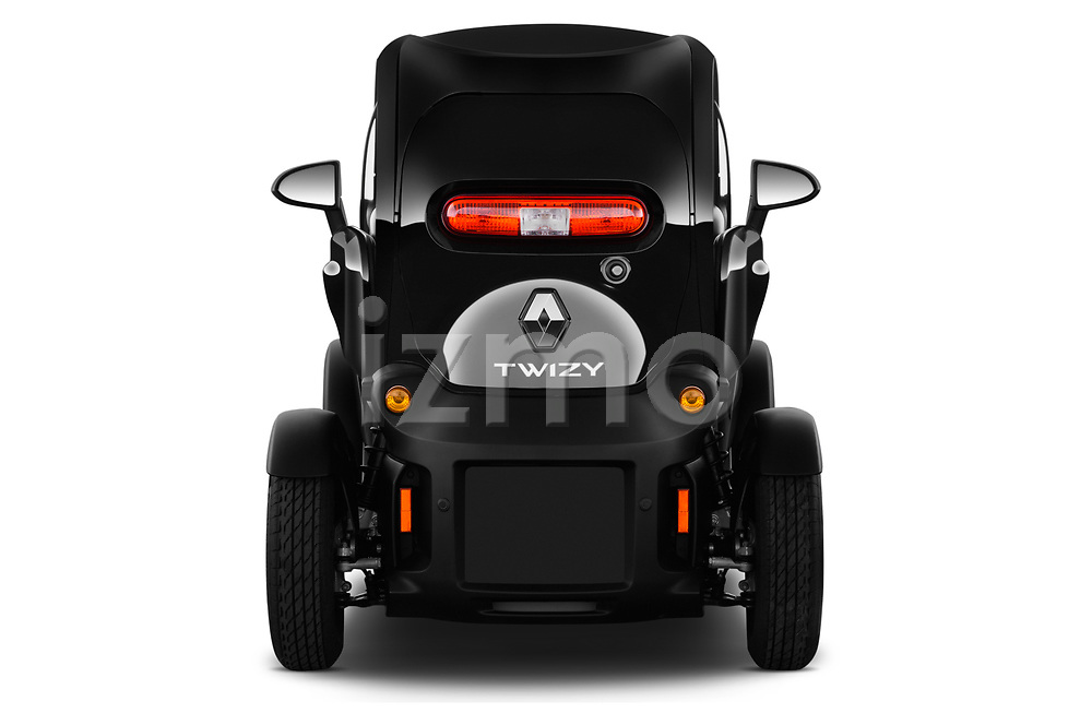 Straight rear view of a 2018 Renault Twizy Cargo 3 Door Hatchback stock images