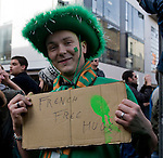 French Free Hugs - Dublin, St. Patrick's Day, 2009. Young French man celebrates by offering free hugs in Temple Bar