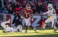 NWA Democrat-Gazette/BEN GOFF @NWABENGOFF<br /> De'Vion Warren, Arkansas wide receiver, returns a kickoff in the second quarter vs Mississippi State Saturday, Nov. 2, 2019, at Reynolds Razorback Stadium in Fayetteville.