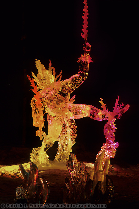 Ice Sculptures at the world ice art championships held annually in Fairbanks, Alaska