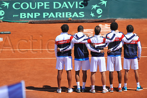 06.03.2016. Vélodrome Amédée Detraux, Guadeloupe, France. Davis Cup 1st round. France versus Canada. Team france in huddle before play. Yannick Noah, Gilles Simon, Richard Gasquet, Jo wilfried Tsonga and Gael Monfils