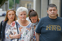 Pictured: Rhian Nokes (3rd L) arrives at Swansea Crown Court. Friday 08 June 2018<br /> Re: A school sports coach who lied about having a brain tumour to start a relationship with a pupil is due to be sentenced today at Swansea Crown Court.<br /> Rhian Nokes, 29, was working at a school in South Wales in 2010 when she befriended a 13-year-old pupil.<br /> Over the course of the next three years, Nokes lied to the pupil about her health and family issues in order to gain sympathy and trust from her. The defendant initially encouraged the pupil to exchange mobile numbers and text messages outside of school, Swansea Crown Court heard.<br /> She progressed to encouraging the pupil, then aged 15, to meet outside of school and start a sexual relationship.