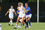 20 September 2012: Maryland's Olivia Wagner (11) and Duke's Gilda Doria (21). The University of Maryland Terrapins played the Duke University Blue Devils to a 2-2 tie after overtime at Koskinen Stadium in Durham, North Carolina in a 2012 NCAA Division I Women's Soccer game.