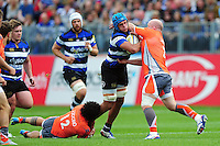 Zach Mercer of Bath Rugby takes on the Newcastle Falcons defence. Aviva Premiership match, between Bath Rugby and Newcastle Falcons on September 10, 2016 at the Recreation Ground in Bath, England. Photo by: Patrick Khachfe / Onside Images