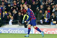 27th November 2019; Camp Nou, Barcelona, Catalonia, Spain; UEFA Champions League Football, Barcelona versus Borussia Dortmund; Griezmann celebration after scoring in the 67th minute for 3-0 - Editorial Use